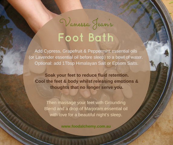 Foot bath with essential oils