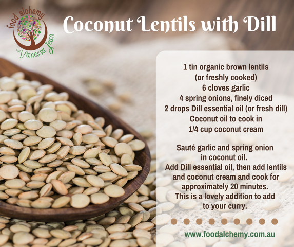 Coconut lentils with dill