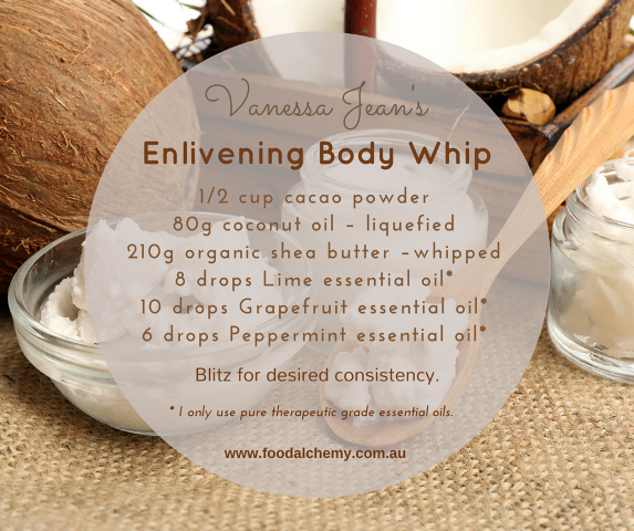 Enlivening body whip with essential oils