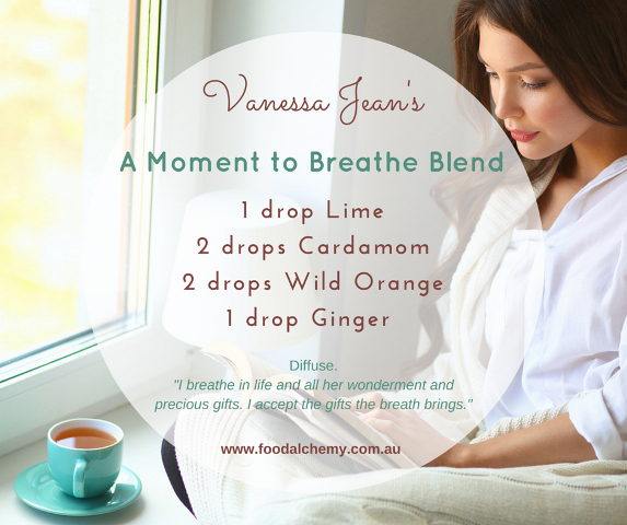 A Moment to Breathe Blend essential oil reference: Lime, Cardamom, Wild Orange, Ginger