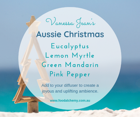Aussie Christmas essential oil reference: Eucalyptus, Lemon Myrtle, Green Mandarin, Pink Pepper