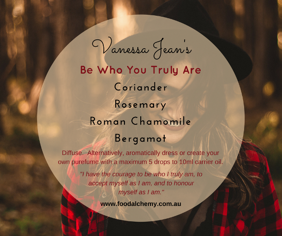 Be Who You Truly Are essential oil reference: Coriander, Rosemary, Roman Chamomile, Bergamot