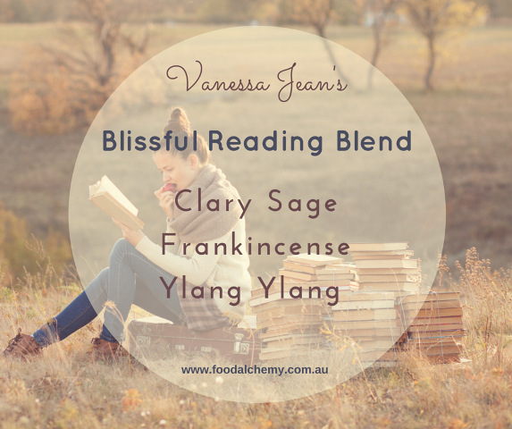 Blissful Reading Blend essential oil reference: Clary Sage, Frankincense, Ylang Ylang