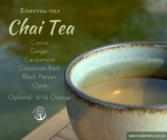 Vanessa Jean's Essential Oil Chai Tea with Cassia, Ginger, Cardamom, Cinnamon Bark, Black Pepper, Clove, Wild Orange essential oils