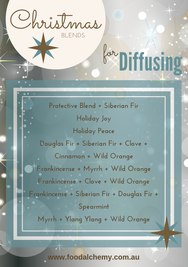 Christmas blends for diffusing by Vanessa Jean, diffuse