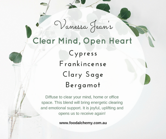 Clear Mind, Open Heart essential oil reference: Cypress, Frankincense, Clary Sage, Bergamot