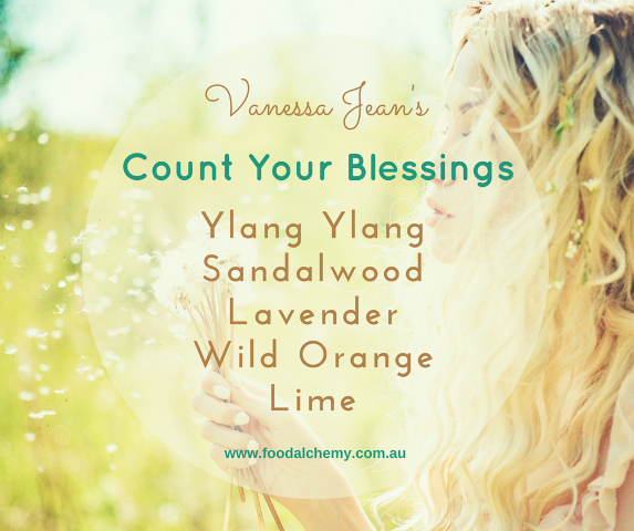 Count Your Blessings essential oil reference: Ylang Ylang, Sandalwood, Lavender, Wild Orange, Lime