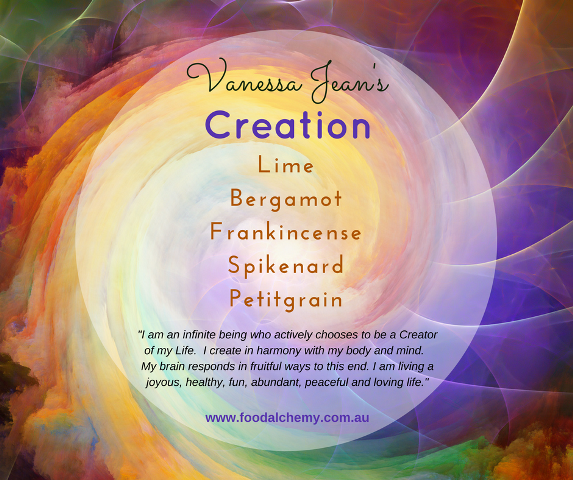 Creation essential oil reference: Lime, Bergamot, Frankincense, Spikenard, Petitgrain