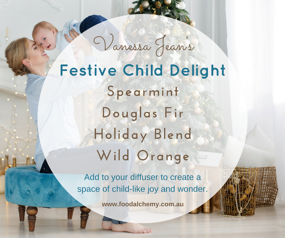 Vanessa Jean's Festive Child Delight blend with Spearmint, Douglas Fir, Holiday Blend, Wild Orange essential oils