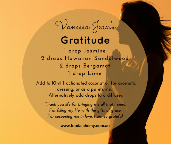 Gratitude essential oil reference: Jasmine, Hawaiian Sandalwood, Bergamot, Lime