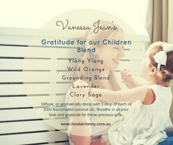 Gratitude for our Children Blend essential oil reference: Ylang Ylang, Wild Orange, Grounding Blend, Lavender, Clary Sage