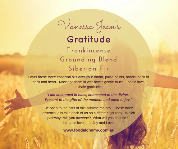 Gratitude essential oil reference: Frankincense, Grounding Blend, Siberian Fir