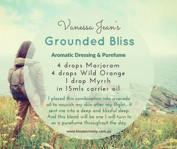 Grounded Bliss essential oil reference: Marjoram, Wild Orange, Myrrh