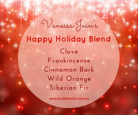 Vanessa Jean's Happy Holiday Blend with Cinnamon Bark, Clove, Frankincense, Wild Orange, Siberian Fir essential oils