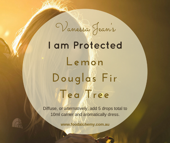 I am Protected essential oil reference: Lemon, Douglas Fir, Tea Tree