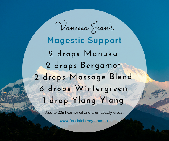 Vanessa Jean's Magestic Support blend with Manuka, Bergamot, Massage Blend, Wintergreen, Ylang Ylang essential oils