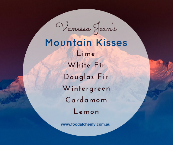 Mountain Kisses essential oil reference: Lime, White Fir, Douglas Fir, Wintergreen, Cardamom, Lemon