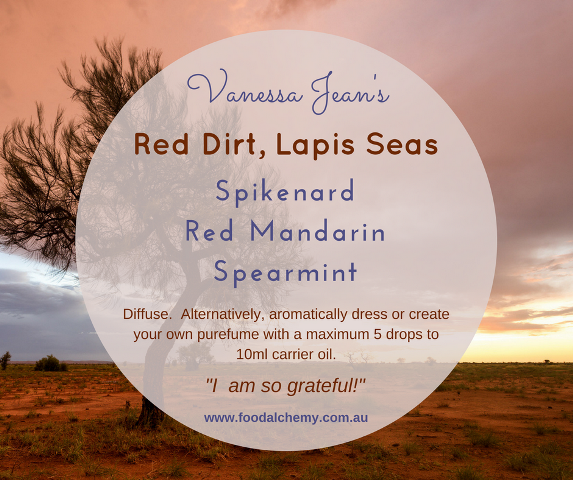 Red Dirt, Lapis Seas essential oil reference: Spikenard, Red Mandarin, Spearmint