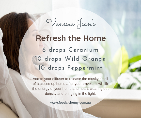 Refresh the Home essential oil reference: Geranium, Wild Orange, Peppermint
