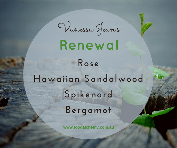 Renewal essential oil reference: Rose, Hawaiian Sandalwood, Spikenard, Bergamot