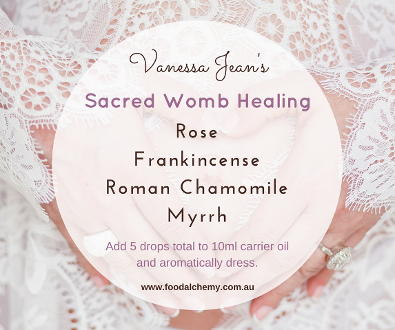 Sacred Womb Healing essential oil reference: Rose, Frankincense, Roman Chamomile, Myrrh
