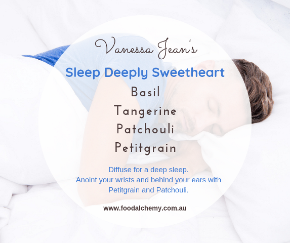 Sleep Deeply Sweetheart essential oil reference: Basil, Tangerine, Patchouli, Petitgrain.