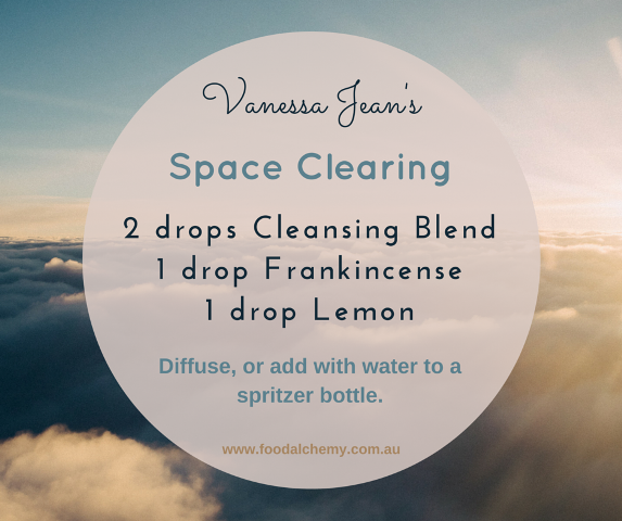 Space Clearing essential oil blend reference: Cleansing Blend, Frankincense, Lemon