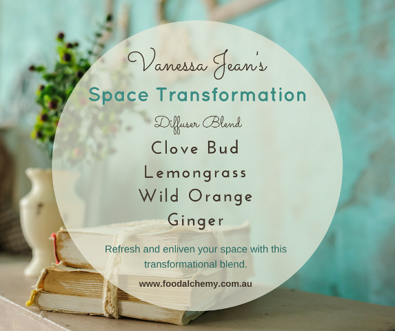 Space Transformation essential oil reference: Clove Bud, Lemongrass, Wild Orange, Ginger