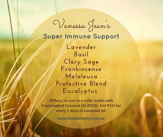 Vanessa Jean's Super Immune Support blend with Lavender, Basil, Clary Sage, Frankincense, Melaleuca, Protective Blend, Eucalyptus essential oils