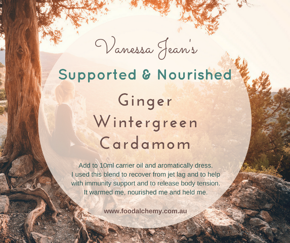 Supported & Nourished essential oil reference: Ginger, Wintergreen, Cardamom