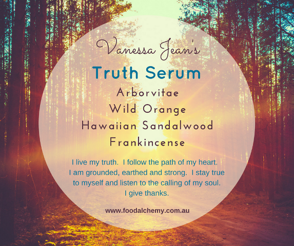 Truth Serum essential oil reference: Arborvitae, Wild Orange, Hawaiian Sandalwood, Frankincense