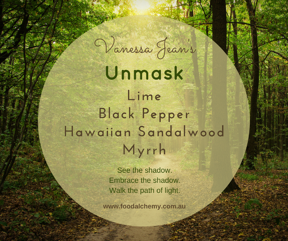 Unmask essential oil reference: Lime, Black Pepper, Hawaiian Sandalwood, Myrrh