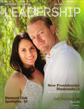 Vanessa Jean and Paul on the cover of the doTERRA Leadership magazine March 2017