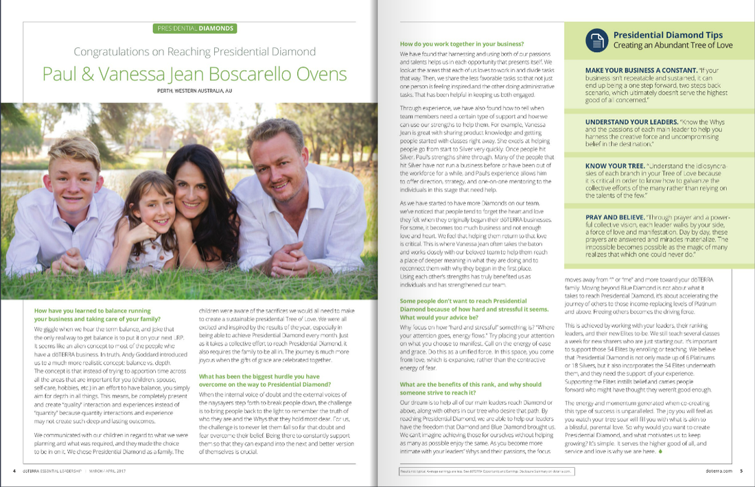 Paul and Vanessa Jean article in the doTERRA Essential Leadership magazine March 2017, featuring family